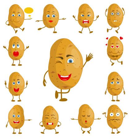 Patata de dibujos animados de carácter. Vector vegetal con cara y manos con diferentes expresiones faciales. Personaje con un conjunto de emociones.