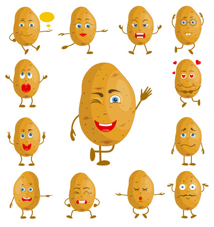 Personaggio dei cartoni animati di patate. Verdura di vettore con viso e mani con diverse espressioni facciali. Personaggio con una serie di emozioni.