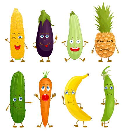 Oblong fruit and vegetables characters. Vector food with eyes, mouth, hands and feet with different emotions and facial expressions. Emoji in various poses.