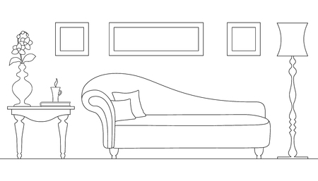 Vector linear interior with an ottoman. Rest zone. Plan the room with thin lines. Outline style.