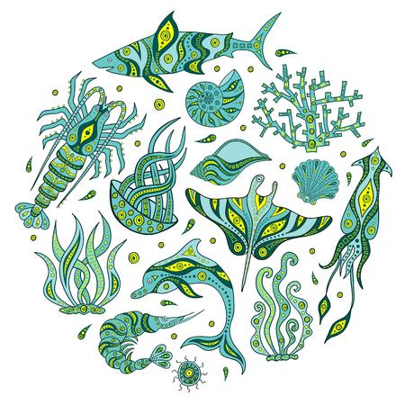 A set of hand-drawn marine animals. The underwater world of doodle. Inhabitants of the sea depths. Marine life sketch. Ilustracje wektorowe
