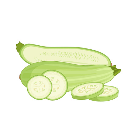 Cartoon zucchini . A composition of whole chopped and half vegetables. Vector illustration. Squash.