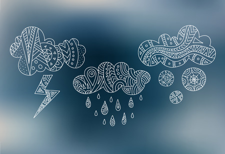 Clouds with rain lightning and snow painted with hands. A sketch of weather icons. Vector doodle clouds in a linear style.