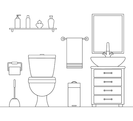 Vector toilet room in an outline style. Sketch of bathroom interior. Side view.