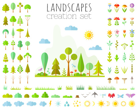 landscapes creator set. Vector elements for the forest designer. Illustration in a flat style. Collection of trees, flowers, bushes, grass.