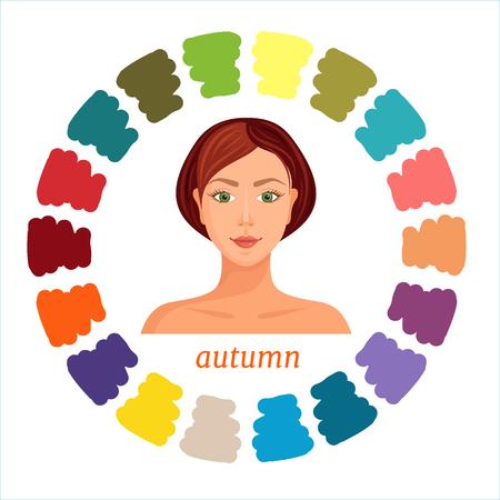 Type de couleur saisonnière d'automne d'apparence féminine. Palette d'analyse des couleurs. Illustration vectorielle. Couleurs adaptées au type d'automne.