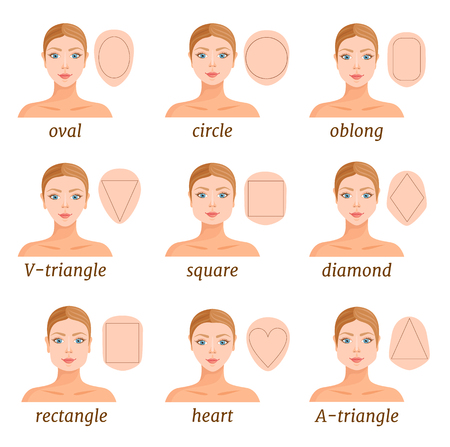 Set of different face shapes. Vector illustration. Forms of female faces. Portrait with a scheme.  イラスト・ベクター素材
