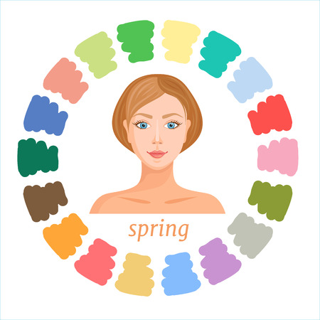 Color analysis palette. Vector. Spring seasonal color type of female appearance. Colors suitable for autumn type.