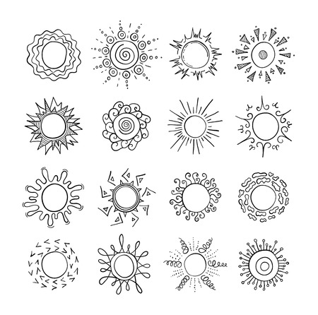 Set of doodles suns on a white background. Sketches of different in shape and design suns drawn by hand. Vector illustration. Vektorgrafik