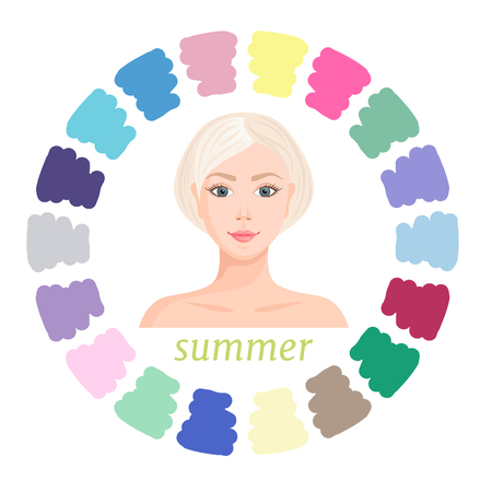 Summer seasonal color type of female appearance. Vector illustration. Guide to the selection of colors.
