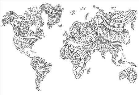Ethnic pattern on the world map. Vector doodle continents drawn by hand. Template for coloring the page.