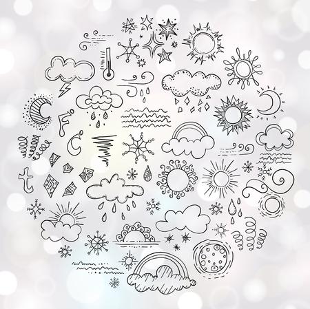 Banner con elementos de diseño para la previsión meteorológica. Conjunto de bosquejo de símbolos meteorológicos. Ilustración vectorial