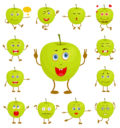 Apple character . Cartoon vector hero in various pose and emotions. A set of funny cartoons. Illustration