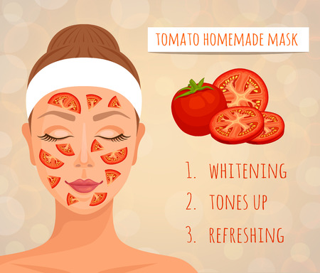 A tomato mask for the face and its effect on the skin. A woman's face with a mask of fresh tomatoes. Vector. Natural home cosmetics.