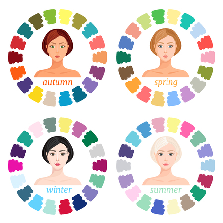 Visual guide for color matching for different color types. Seasonal color types of female appearance: summer, autumn, winter, spring. Vector.