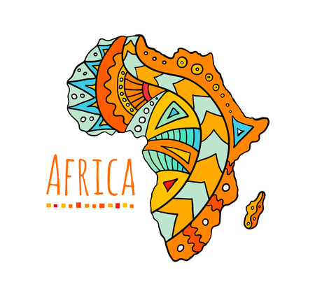 Hand-painted African continent. Banner with the image of a map of africa with ethnic doodle patterns. Vector illustration. Colorful template on the tourist theme. 向量圖像