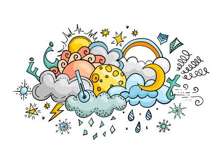 Weather cartoon vector doodle illustration. Hand-drawn colorful design elements. Banner on the theme of climate.