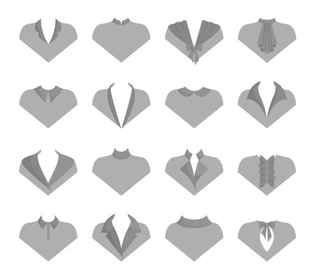Different models of collars. Patterns of clothing with examples of different collars. Vector.  イラスト・ベクター素材