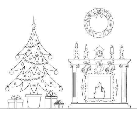 Lineare Weihnachtskarte mit Weihnachtsbaum und Kamin. Interieur mit dem neuen Jahr dekoriert. Vektor Colorong Seite.