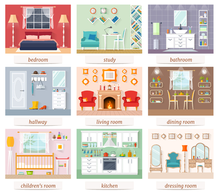 A set of rooms for various purposes in flat style. Vector illustration. An example of interior design and furniture arrangement. Illusztráció