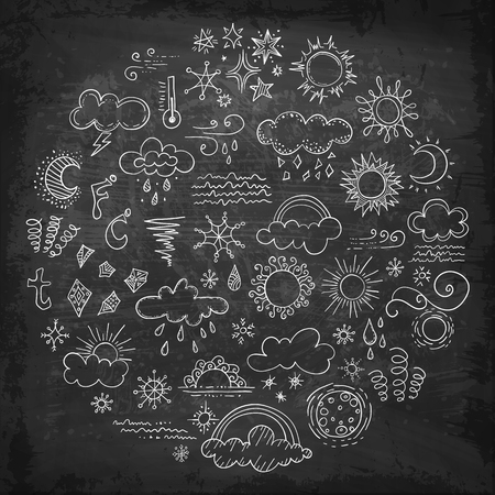 Set of vector weather symbols drawn by hand. Sketch elements on climate theme drawn in chalk on a blackboard. Vettoriali