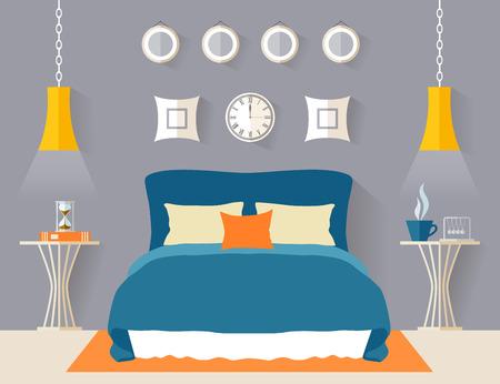 Bedroom interior in flat style. Modern minimalist room design. Vector illustration.