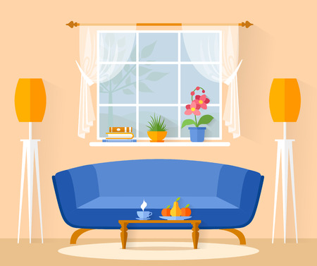 Little vector living room. Cozy modern room with furniture and a window. Interior in flat style. Banner with a minimalist interior.