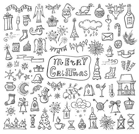 Hand-drawn Christmas symbols. Doodle icon set. Vector attributes of winter holidays. Foto de archivo - 127483484