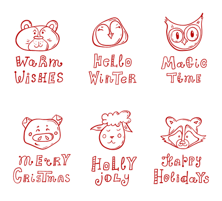 A set of templates for Christmas cards. Faces of cute animals with holiday wishes. Hand-drawn vector illustration. Doodle characters with lettering.