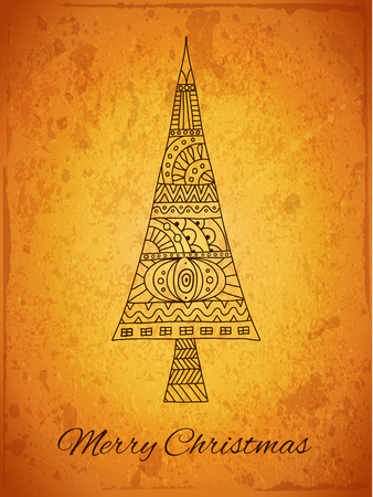 Vintage Christmas card with Christmas tree and the inscription. Hand-drawn stylized tree on grunge retro background. Vector illustration in doodle style. Ilustração