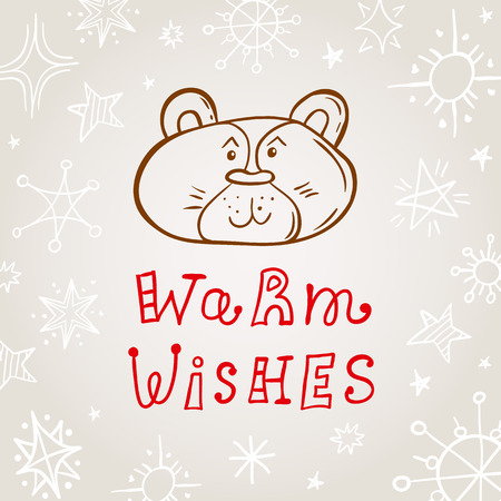 Christmas banner with the face of a cute bear and a wish. The inscription warm wishes. Festive lettering. Hand drawn postcard.