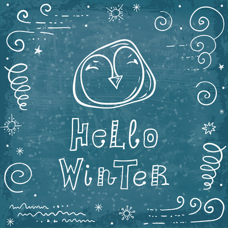 Card with a penguin and the words hello winter. Hand drawn vector banner on a holiday theme. Doodle postcard.