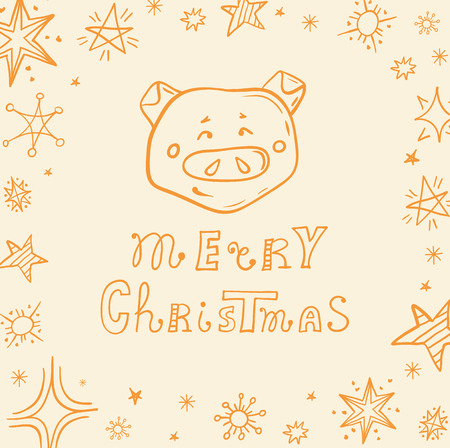 Christmas card in doodle style. Hand drawn vector banner with lettering. Christmas wish from cute pig.