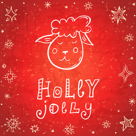 Hand drawn New Year Card. Festive banner with a sheep, snowflakes and the inscription Holly Jolly. Vector illustration with lettering. Doodle style. Ilustração