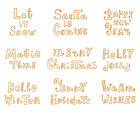 Christmas and New Year's lettering in doodle style. Set of hand drawn inscription with holiday wishes. Vector calligraphy.