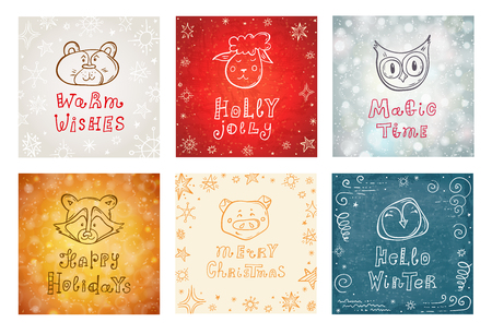 Set of Christmas and New Year cards with the faces of cute animals and holiday wishes. Hand-drawn vector lettering postcards. Doodle style.