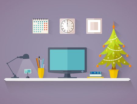 Desktop with Christmas tree in flat style. Vector interior. Office decorated for the new year.
