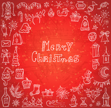 Red Christmas banner with congratulations and a frame of hand-drawn holiday symbols. Vector greeting card with doodle elements.