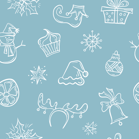 Seamless pattern with symbols of Christmas and New Year. Background with hand drawn festive decor elements. Vector illustration. Foto de archivo - 127225953