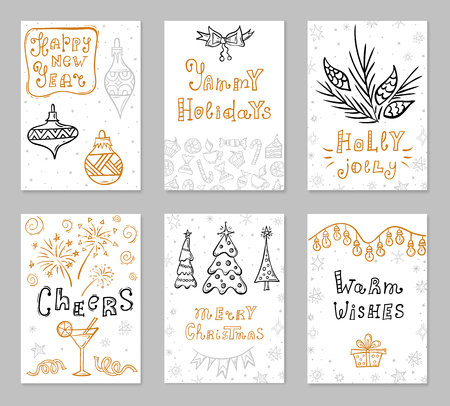 Set of Christmas greeting cards with hand drawn holiday symbols and handwritten wishes. Posters with lettering and design elements. Vector illustration.