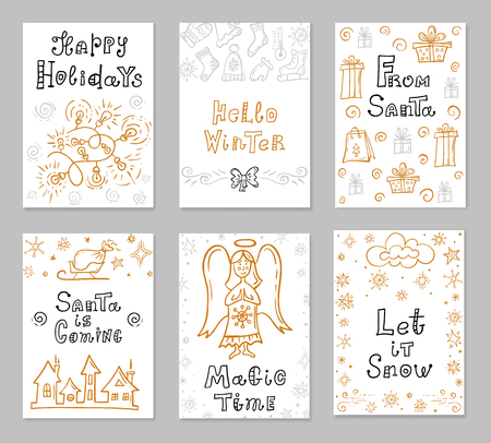 Set of hand-drawn Christmas cards. Template for greeting posters. Handwritten lettering and design elements for a festive theme. Vector. Ilustração