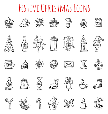 Hand drawn Christmas icons. Set of doodle symbols of winter, Christmas and New Year. Collection of vector design elements. Ilustração