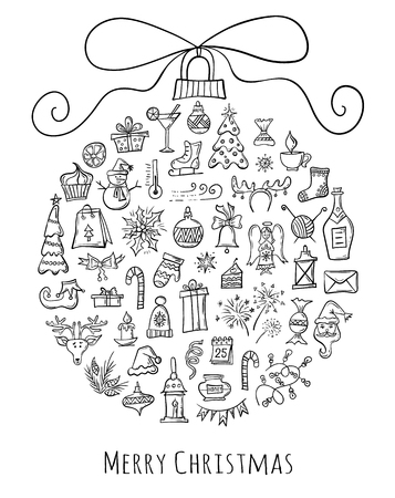 Christmas ball made from hand-drawn holiday symbols. Template for xmas design.Vector decoration elements. Ilustração