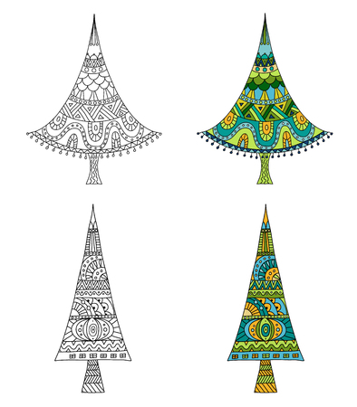 Set of hand-drawn Christmas trees. Vector template for coloring book. Doodle design elements. Zenart. Stock Illustratie