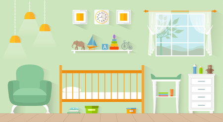Interior nursery in flat style. Vector children's room with furniture and toys.
