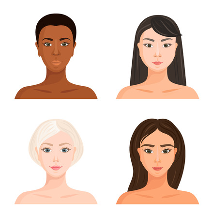 Volti femminili di razze diverse. Set di avatar vettoriali. Tipi di bellezza di varie nazioni e nazionalità. Ragazze con diversi colori di capelli, pelle e occhi.