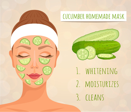 Cucumber face mask its effect on the skin. A woman's face with a mask of cucumber. Vector illustration. Natural home cosmetics.