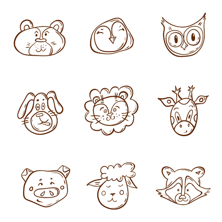 Set of cute animal faces. Hand-drawn Vector illustration. Doodle characters in childish style.