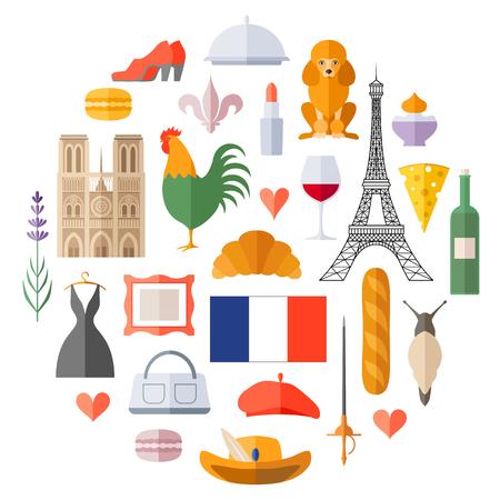 Tradycyjny francuski symbol w stylu płaski. Zestaw ikon wektorowych na temat Francji. Francuskie pamiątki, akcesoria i atrybuty.