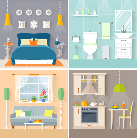 Set of rooms with furniture and decor: bedroom, bathroom, living room and kitchen. Flat style vector interior.